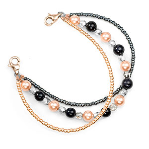 Pearl Rose River Beaded Medical Alert Bracelet for ID Tag