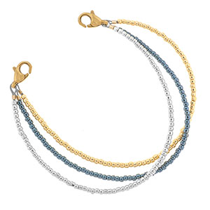 Yellow Gold, Silver and Gunmetal Bead Bracelet for ID Tag 6 inch