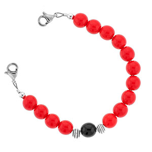 Red and Black Bead Bracelet 6 inches