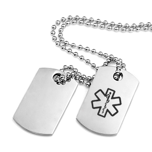 Small Double Dog Tag Medical Alert Necklace