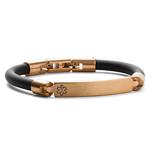 Bronze Steel Silicone Medical Bracelet by Roberto Arichi