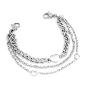 Stainless Silver Color Triple Strand Bracelet for Medical Tags 6 inch