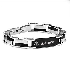 Steel & Black Link Asthma Bracelet