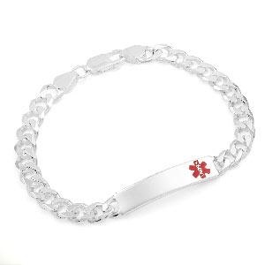Sterling Silver Curb Link Medical Bracelet  8.5  inch
