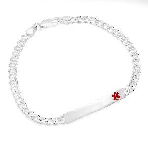 Sterling Silver Medical Bracelet Curb Link 7.5 inch