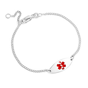 Adjustable Sterling Silver Medical ID Bracelet For Women