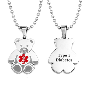 Teddy Bear Type One Diabetes Necklace for Kids