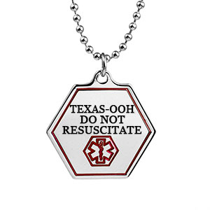 Texas DNR Medical Alert Stainless Necklace 24 - 30 In