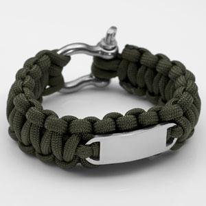 Green Paracord Survival Screw Clasp Bracelet MD