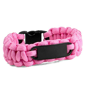 Pink Paracord Survival ID Bracelet & Black Tag SM