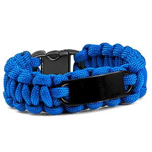 Blue Paracord Survival ID Bracelet & Black Tag MD