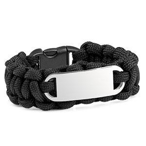 Kids Black Paracord Survival ID Bracelet & Steel Tag SM