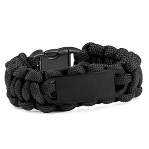 Kids Black Paracord Survival ID Bracelet & Black Tag XS
