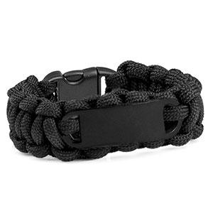 Black Paracord Survival ID Bracelet & Black Tag SM