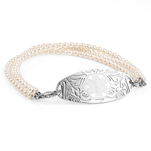 Triple Strand O Pearls Medical ID Bracelet