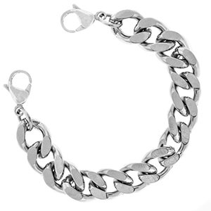 Five Inch Wide Polished Stainless Steel Link Bracelet