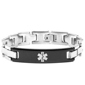 Reid Black Engravable Medical Alert Bracelet for Men