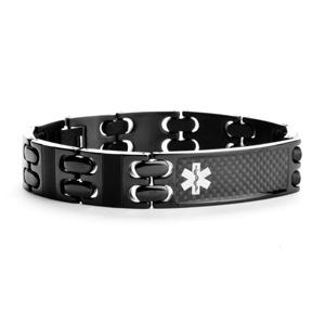Riker Black Steel Medical Alert Bracelets for Men