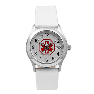 Womens White Leather Medical Watch