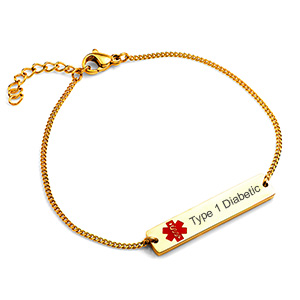 Type 1 Diabetic Gold Bar Bracelet