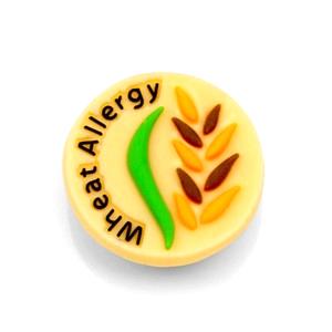 Wheat Allergy Button for Kids Rubber Medical Bracelet