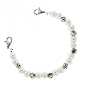 White and Silver Bead Bracelet 6 inches