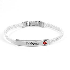 White Braided Faux Leather Diabetes Bracelet