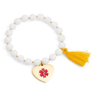 White Medical Bead Bracelet with Gold Charm