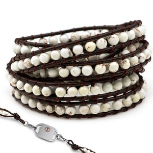 White Turquoise Leather Wrap Beaded Medical Alert Bracelets