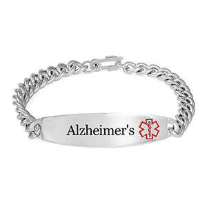 Wide Style Alzheimers Bracelet With Optional Safety Clasp