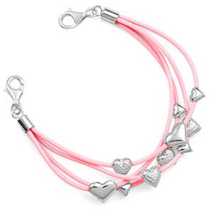 Sterling Hearts Light Pink Medical Alert Bracelets