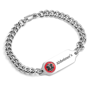 Women's Alzheimer's Bracelet 7 In with Safety Clasp