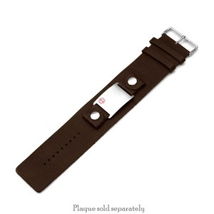 SM Genuine Brown Leather Strap for Big ID Tag 6 - 7 1/2 Inch