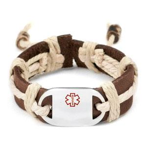 Kids Hemp Leather Medical ID Bracelets