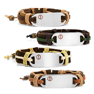 Logan Hemp Leather Medical ID Bracelets